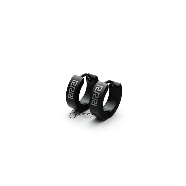 Black Titanium IP Stainless Steel Greek Key Hinged Hoop Earrings-Glitters-New Zealand