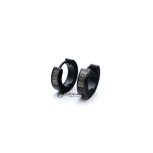 Black Titanium IP Stainless Steel Roman Numeral Hinged Hoop Earrings-Glitters-New Zealand