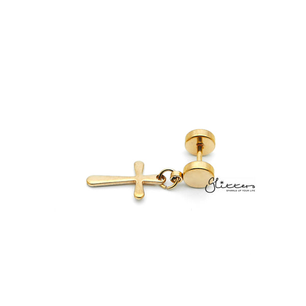 Stainless Steel Drop Cross Fake Plug Earrings - Gold