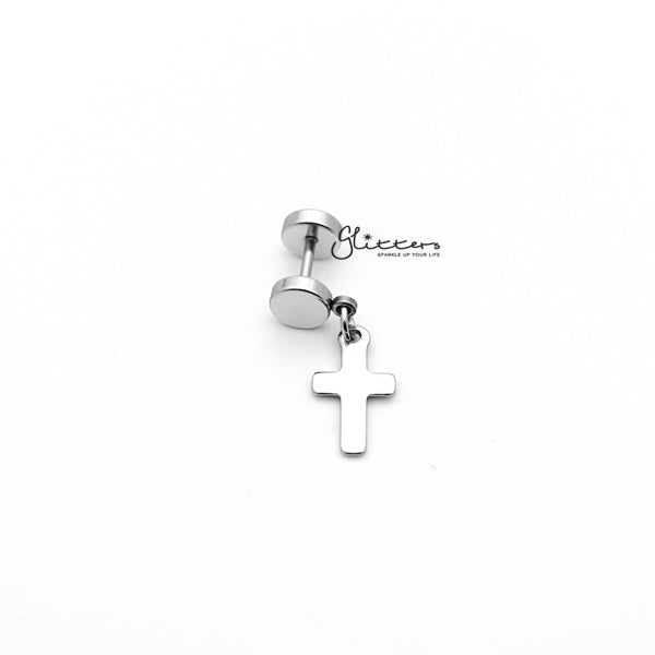 Stainless Steel Dangle Cross Fake Plug Earrings - Silver