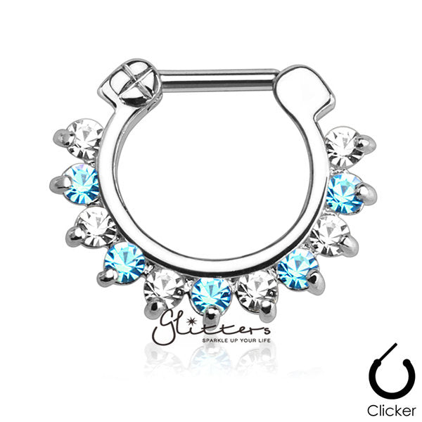 316L Surgical Steel Single Line Pronged Gems Septum Clicker-Aqua/Clear-Glitters-New Zealand