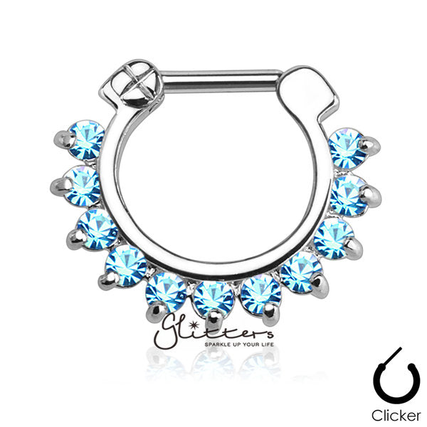 316L Surgical Steel Single Line Pronged Gems Septum Clicker-Aqua-Glitters-New Zealand