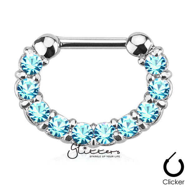 316L Surgical Steel Single Line Paved Gem Septum Clicker-Aqua-Glitters-New Zealand