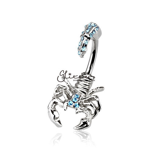 Scorpion with Multi Gemmed Head and Tail Belly Button Ring-Aqua-Glitters