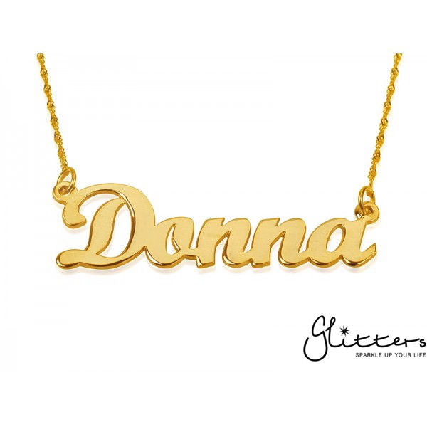 Personalized 24K Gold Plated Sterling Silver Name Necklace-Script 5-Glitters