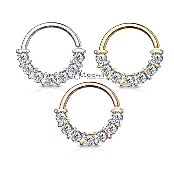 Surgical Steel 7 Gem Front Facing Set Bendable Hoop Rings-Silver | Gold | Rose Gold