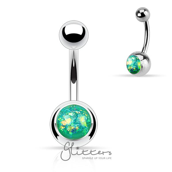 Green Opal Glitter Set 316L Surgical Steel Belly Button Ring-Glitters-New Zealand