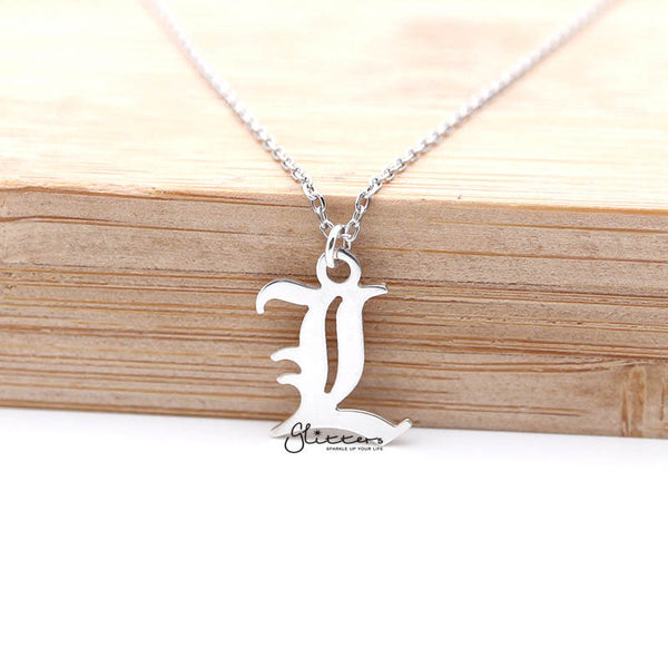 Personalized Sterling Silver Alphabet Necklace- Old English Font