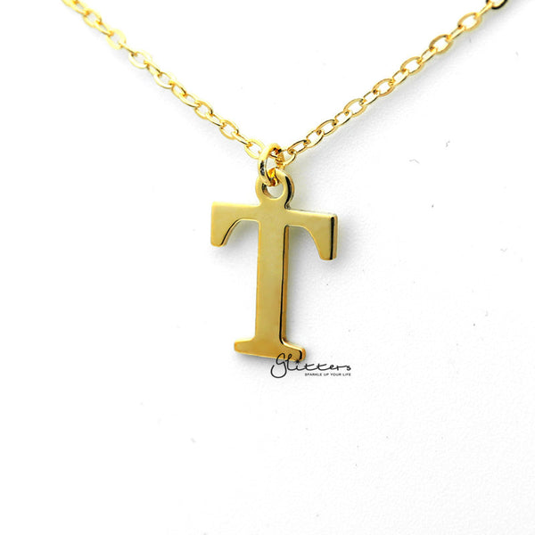 Personalized 24K Gold Plated over Sterling Silver Alphabet Necklace-Font 13