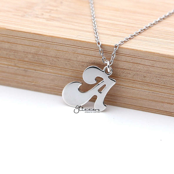 Personalized Sterling Silver Alphabet Necklace - Font 3