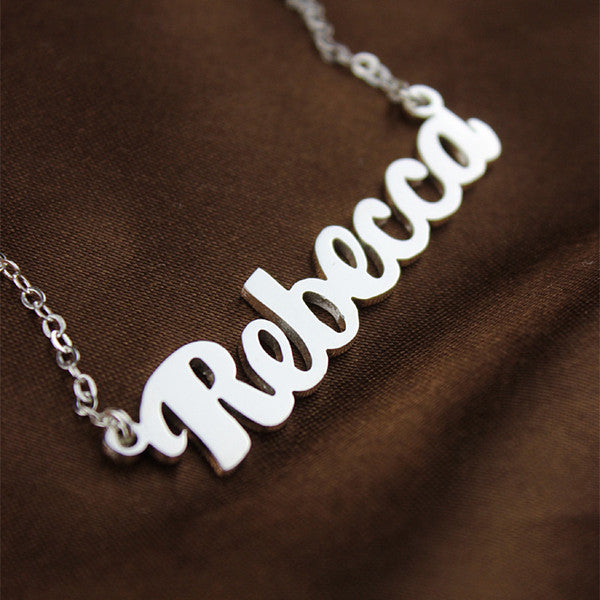 Personalized Sterling Silver Name Necklace-Font 2-Glitters