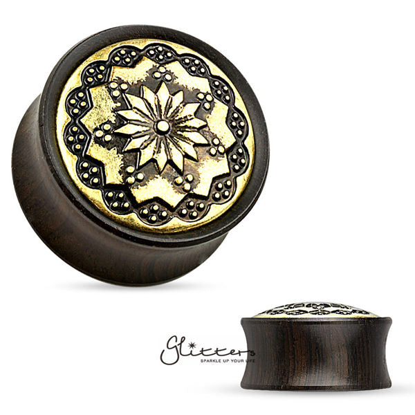 Floral Tribal Pattern Ebony Wood Double Flare Saddle Fit Tunnel-Glitters-New Zealand