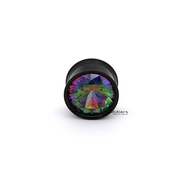 Hand Polished Surgical Steel Double Flared Internally Threaded Screw Fit Tunnel with Multi Color C.Z Front-Glitters-New Zealand
