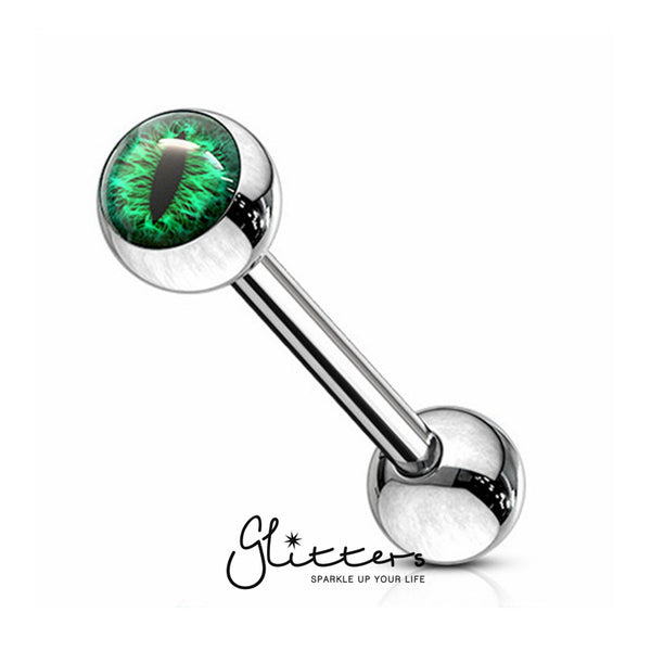 Snake Eye Inlaid Ball Surgical Steel Tongue Barbells-Green