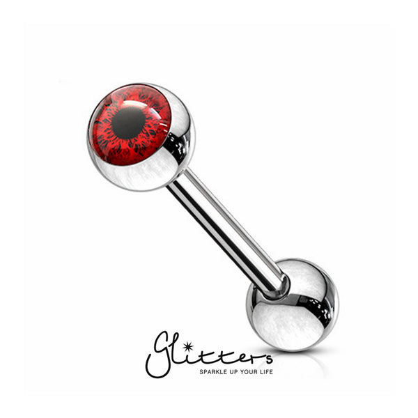 Eyeball Inlaid Ball Surgical Steel Tongue Barbells-Red-Glitters-New Zealand
