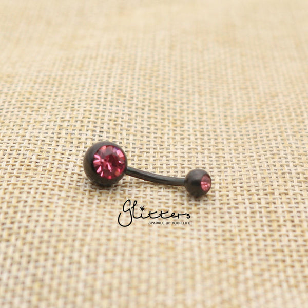 Black Titanium I.P Surgical Steel Double Gem Belly Button Ring - Pink-Glitters-New Zealand