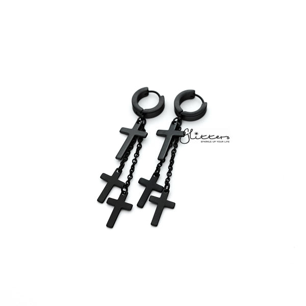 Black Titanium IP Stainless Steel 3 Cross and Chain Dangle Hinged Hoop Earrings-Glitters-New Zealand