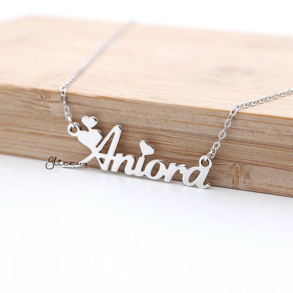 Personalized Sterling Silver Name Necklace-Heart Font