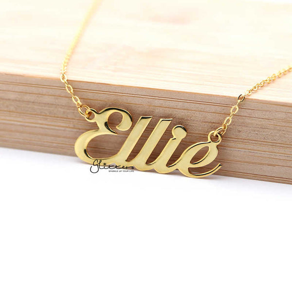 Personalized 24K Gold Plated Sterling Silver Name Necklace-Script 1