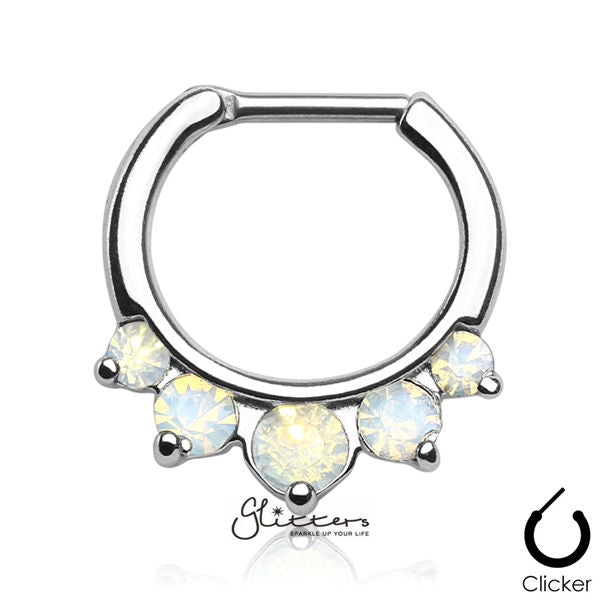 316L Surgical Steel Five Pronged Opalites Septum Clicker-White-Glitters-New Zealand