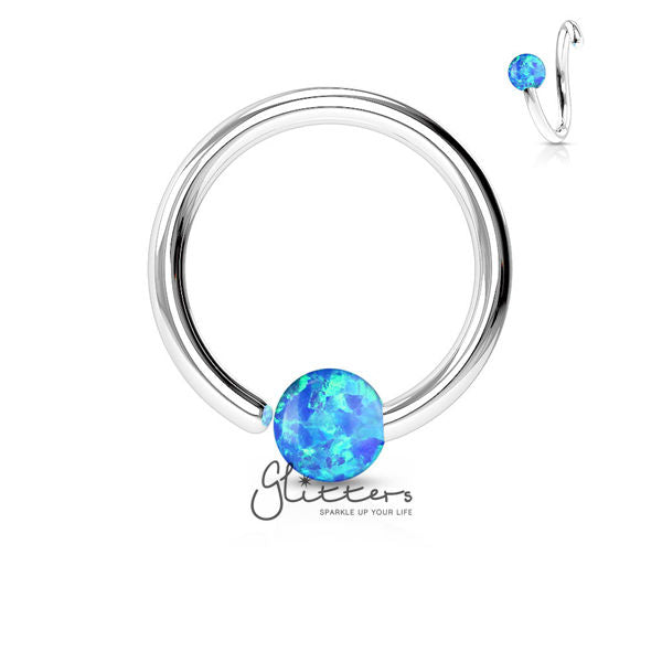 316L Surgical Steel Opal Ball Fixed On End Hoop Ring-Opal Blue-Glitters-New Zealand