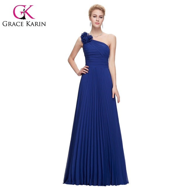 Chiffon Long One Shoulder Pleated Red Green Purple Royal Blue Formal Evening Dress Party Gowns 2018