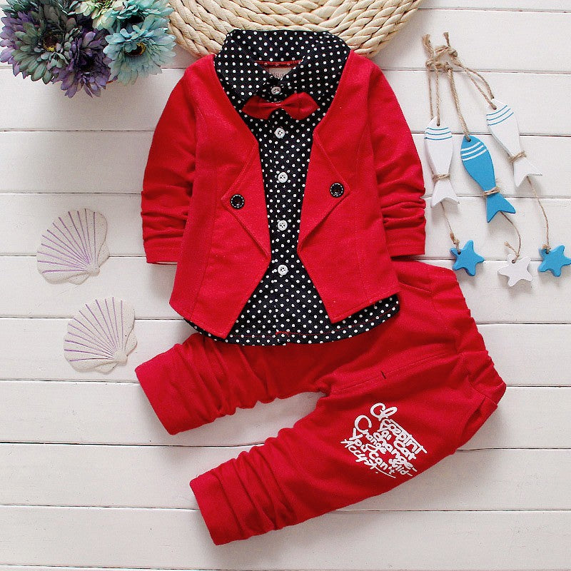 BibiCola Baby Boys Spring Casual Clothing Set fashion kids Bow Formal Polka Dot Clothes Babe jacket + Letter pants 2-Piece suit