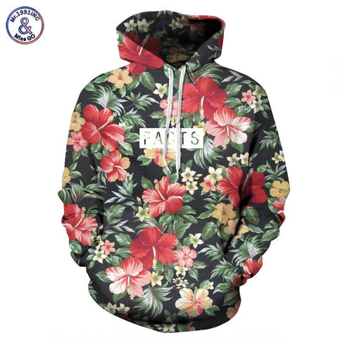 Autumn Winter Fashion Men/women Hoodies With Cap Print Red Flowers Green Leaves 3d Hooded Sweatshirts Hoody Tracksuit