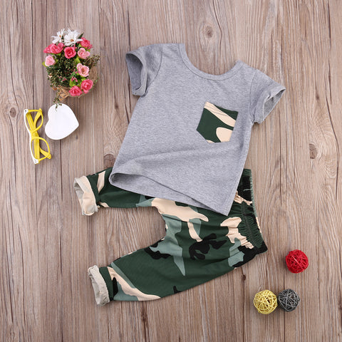 2018 children fashion summer baby boys girls clothing sets bow 2pcs camouflage sport suit clothes sets boys girls summer set