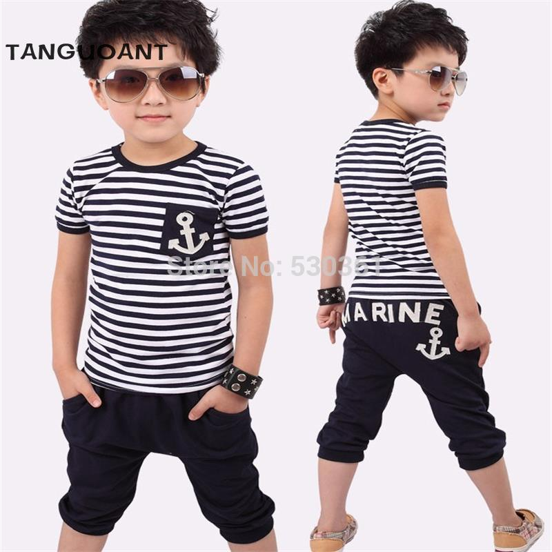 Hot sale summer clothing sets kids pants + Top boys girls Navy Stripe kids clothes children tracksuit - Forefront Outfitters Inc.