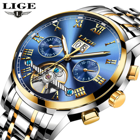 Mens Watches Top Brand Luxury Automatic Mechanical Watch Men Full Steel Business Waterproof Sport Watches