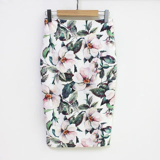 2018 Summer Style Pencil Skirt Women High Waist Green Skirts Vintage Elegant Bodycon Floral Print Midi Skirt