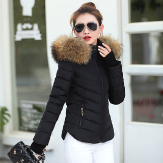 2018 Autumn Winter Jacket Women Parkas for Coat Fashion Female Down Jacket With a Hood Large Faux Fur Collar Coat