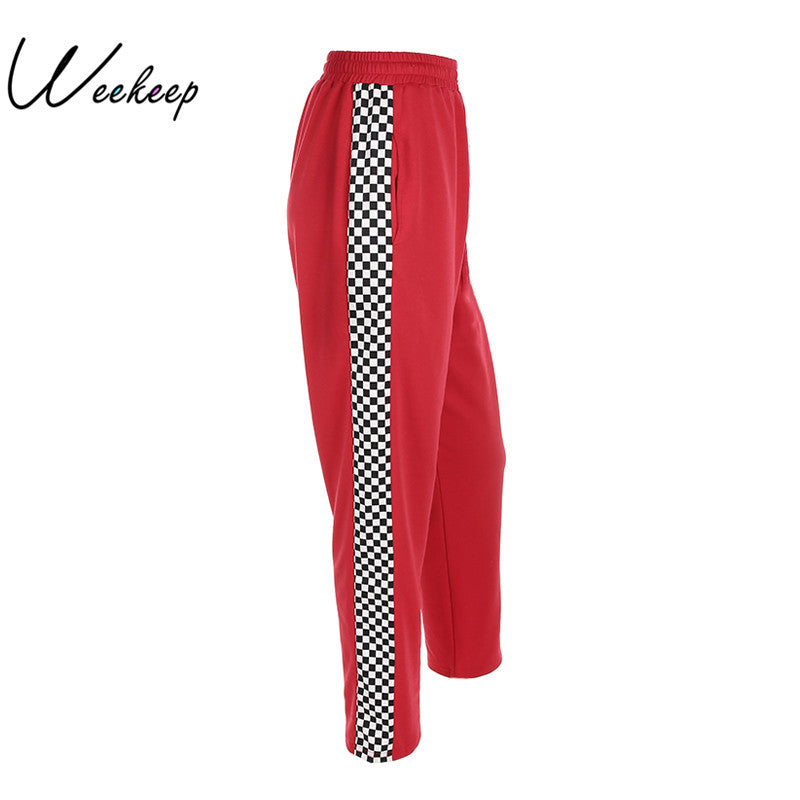 Women 2018 Fashion Brand Pantalon Femme Side Checkerboard Sweatpants Red Knitted Womens Trousers Casual Loose Lady Pants - Forefront Outfitters Inc.