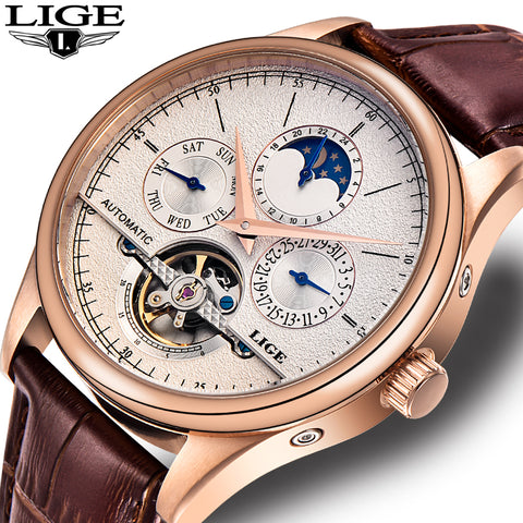Brand Men watches Automatic mechanical watch tourbillon Sport clock leather Casual business wristwatch Gold