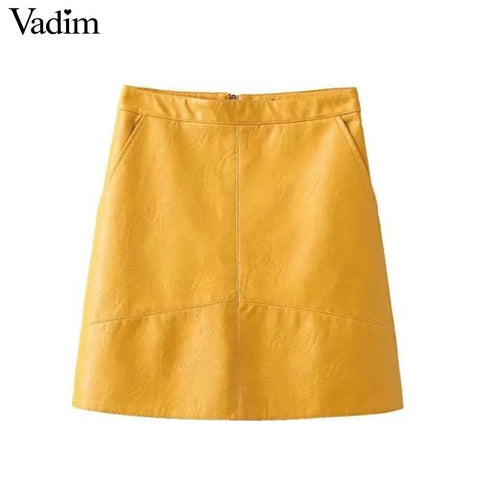 Women basic solid PU leather skirts brief pockets back zipper faldas European style fashion streetwear mini skirts BSQ637 - Forefront Outfitters Inc.