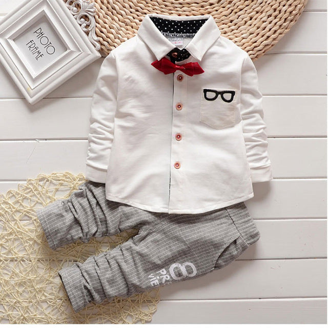 Baby Clothing Sets Kids Clothes Autumn Baby Sets Kids Long Sleeve Sports Suits Bow Tie T-shirts + Pants Boys Clothes