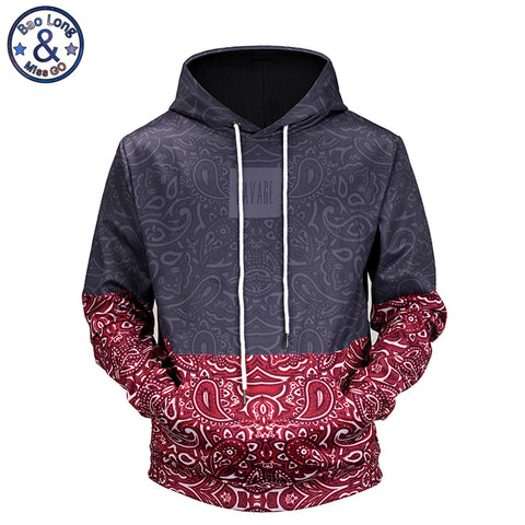 New 2018 high quality Floral Stitching 3D printed men's hooded hoodies funny design drawstring hoodies man H64