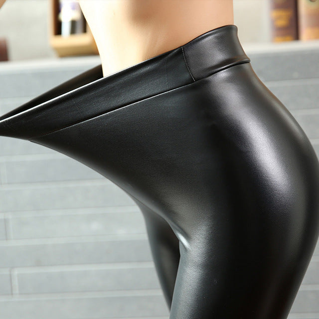 Fashion Women PU Leather Pants High Elastic Waist Leggings Not Crack Slim Leather Leggings Skinny Fleece Trousers Women