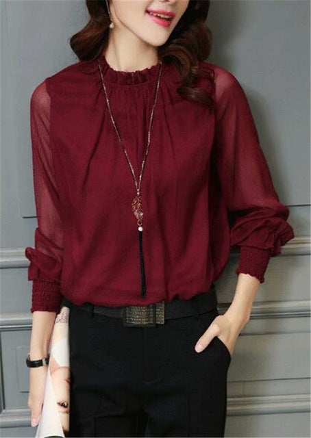 Chiffon Blouse 2018 New Women Tops Long Sleeve Stand Neck Work Wear Shirts 32746