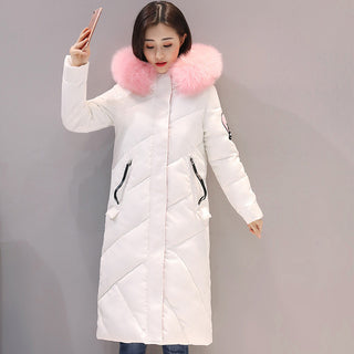 2018 high quality fur collar women long winter coat female warm wadded jacket womens outerwear parka casaco feminino inverno