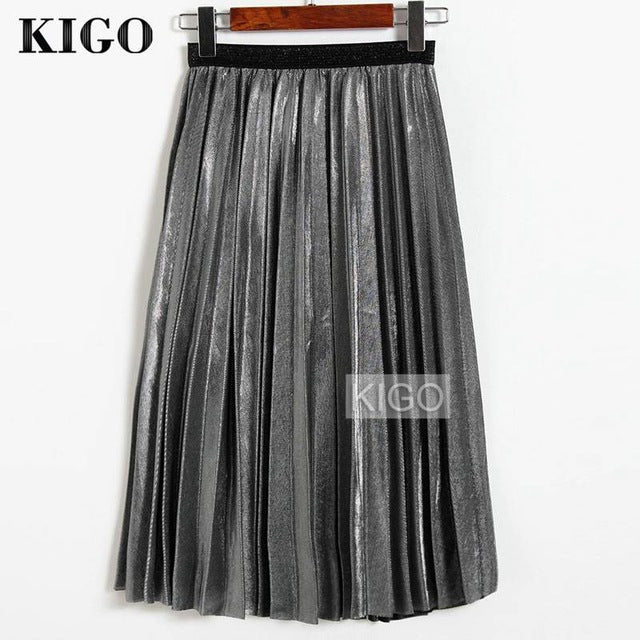 2018 Women Metallic Silver Skirt Midi Skirt High Waist Metallic Pleated Skirt Party Club Ladies Saia Fenimias KZ2087H