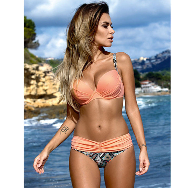 Sexy Bikinis Women Swimsuit 2018 Summer Low Waisted Bathing Suits Halter Top Push Up Bikini Set Plus Size Swimwear XXL - Forefront Outfitters Inc.