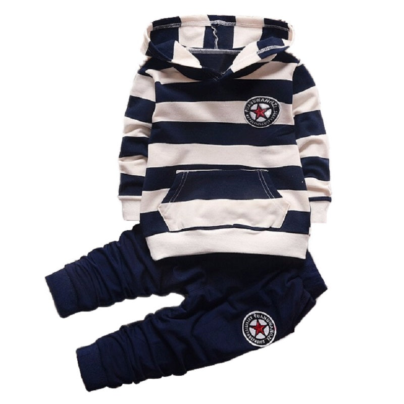 Time-limited Fashion Girl Boys Clothing Sets Long Sleeve Striped Hoodies Unisex Suits 2pcs Children Clothes Hooded For Kids - Forefront Outfitters Inc.
