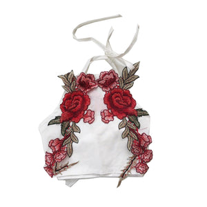 White Rose Appliqué Backless Halter Top