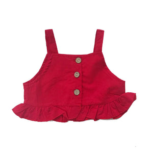 Red Button Detail Top