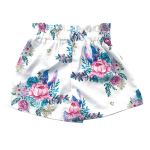 White Floral Flowy Shorts