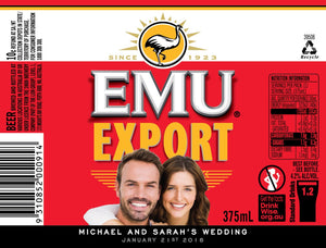EMU EXPORT 6 X 375ML STUBBY LABELS WITH PICTURE AND/OR TEXT (SAMPLE ONLY)