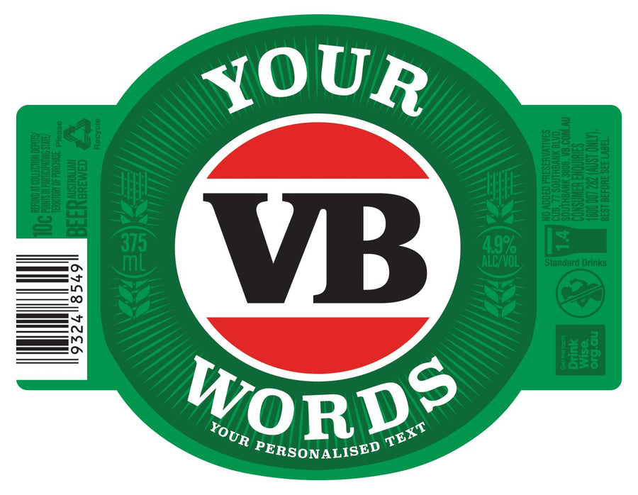 VICTORIA BITTER 6 x 375ml Stubby labels with PICTURE AND/OR TEXT