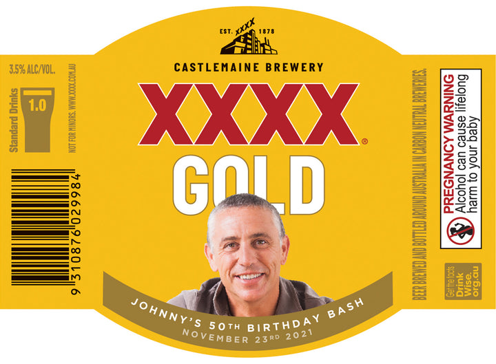 XXXX GOLD 6 x 375ml Stubby labels with PICTURE & TEXT-My Brand And Me